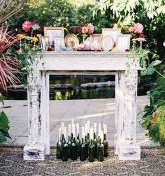 vintage mantle altar at Florida boho bohemian wedding Wedding Mantle, Red Wedding, Boho Wedding, Rustic Wedding, Wedding Ceremony, Wedding Photos, Wedding Blog, Wedding Gallery, Wedding Fireplace Decorations