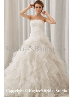 Organza and Lace Strapless Sweep Train A-line Wedding Dress