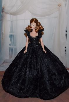 Barbie Clothes- Hand Beaded Black Gown for Snow White's Evil Step-Mother or Barbie.  Fits Disney Dolls,  Barbie Dolls and Integrity Dolls on Etsy, $39.99