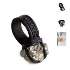 """Jakimac Golden Ore pyrite leather wrapped Ring """"A hand-selected pyrite stone is wrapped in genuine leather and fixed to a leather ring band.""""  Never worn for more than 5 minutes. I love this ring but it just doesn't get worn! Equal to a US size 6.5. Jakimac Jewelry Rings"""