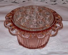 "Depression Glass Price Guide: Old Colony ""Lace Edge"" Flower Bowl or Vase - Pink w/ Clear Frog"