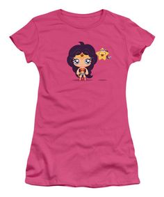 Another great find on #zulily! Hot Pink Wonder Woman & Star Fitted Tee - Juniors #zulilyfinds