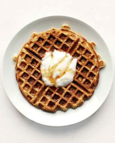 These waffles pair nicely with plain or vanilla yogurt and maple syrup.