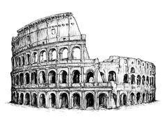 Dem Landmarks Illustrations on Behance // The Colosseum by Yann Erasmus / Fineliner Drawings