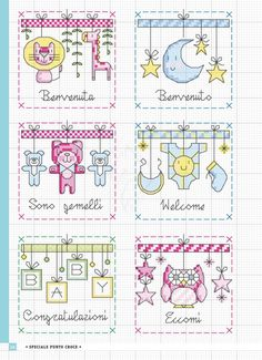 / Фото - Piccoli Motivi a Punto Croce Speciale 2012 2018 - Chispitas Cross Stitch For Kids, Cross Stitch Boards, Cross Stitch Baby, Cross Stitch Patterns, Crochet Cross, Craft Patterns, Cross Stitching, Needlepoint, New Baby Products
