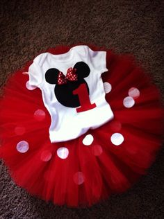 Minnie Mouse inspired birthday outfit. Minnie Mouse onesie. Minnie Mouse tutu  by Classyritzybabies on Etsy