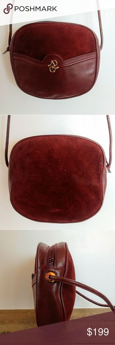 VTG Authentic Gucci Leather and Suede Canteen Bag So cool vintage authentic Gucci canteen bag! Dark red leather and suede with goldtone horsebit detail and tan lining. Zip closure with a slide pocket on the front and crossbody strap. Good vintage condition with some light scratching, especially on the back, some flaking in the lining and a fair bit of cracking along the strap.  Height: 6.5 inches Length: 7.5 inches Depth: 2 inches Strap drop: 20 inches Gucci Bags Crossbody Bags