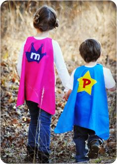 Super Kid Cape - FREE | YouCanMakeThis.com.  Thinking of using this pattern to make some Bat Capes.