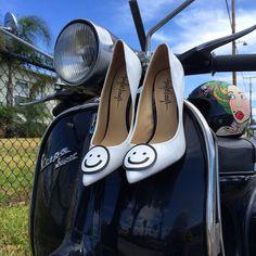 ❤️ don't worry- BE HAPPY (high heels) available on TaylorSays.com #taylorsays #tsbehappy #legsfordays #vespa #vespasuper150 #65vespa