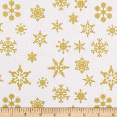 Riley Blake Gold Sparkle Snowflakes Gold from @fabricdotcom  Designed by the Riley Blake Designers for Riley Blake, this cotton print is perfect for quilting, apparel, and home decor accents. Colors include metallic gold and white.