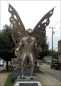 Mothman statue Point Pleasant, WV: Some UFologists, paranormal authors, and cryptozoologists believe that Mothman was an alien, a supernatural manifestation, or an unknown cryptid. In his 1975 book The Mothman Prophecies, author John Keel claimed that the Point Pleasant residents experienced precognitions including premonitions of the collapse of the Silver Bridge, unidentified flying object sightings, visits from mysterious or threatening men in black, and other bizarre phenomena. However…