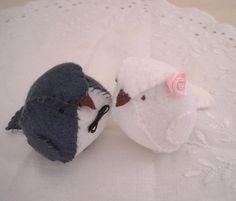 Wedding Cake Topper - Keepsake - Little felt birds in white and dark grey. $28.00, via Etsy.