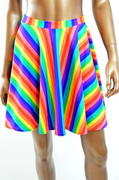 #Coquetry Clothing        #Skirt                    #Rainbow #Striped #Circle #Skater #Skirt            Rainbow Striped Circle Cut Skater Skirt                                       http://www.seapai.com/product.aspx?PID=963390