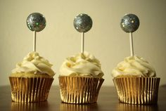 Oleander and Palm: New Year's Eve Ball Drop Cupcake Toppers