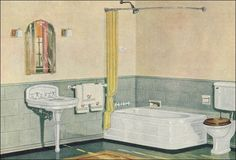 1926 Crane Plumbing Fixtures - Simple Bathroom - Ivory and Sage Green Scheme