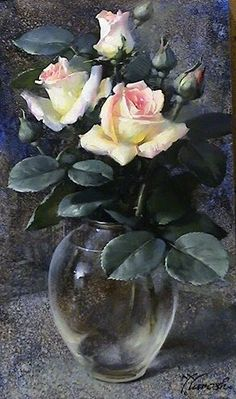 Roses remind me of my dearest mom. Oil Painting Flowers, Watercolor Flowers, Watercolor Paintings, Floral Paintings, Painting Abstract, Still Life Art, Arte Floral, Pictures To Paint, Beautiful Roses