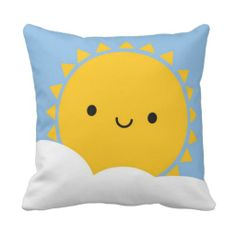 Kawaii Sun Throw Pillows #kawaii #cute
