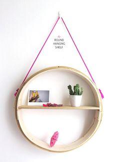 DIY Round Hanging Shelf Made from a Steamer Basket