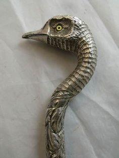 Fancy silver cane handle