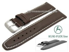 Uhrenarmband Ku-LCf004B 18mm dunkelbraun Leder KUKI-FLEX Patent helle Naht von KUKI