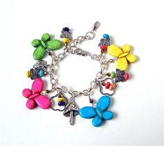 Butterfly charm bracelet colorful butterfly by sparklecityjewelry