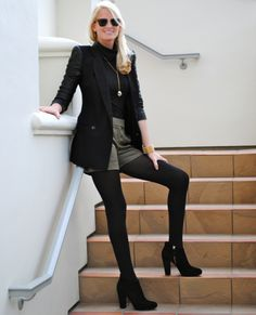 tights, shorts and blazer