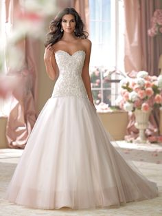 Wedding Dresses 2014 Collection Strapless organza and tulle full modified  A-line wedding dress with sweetheart neckline 91c178343b38
