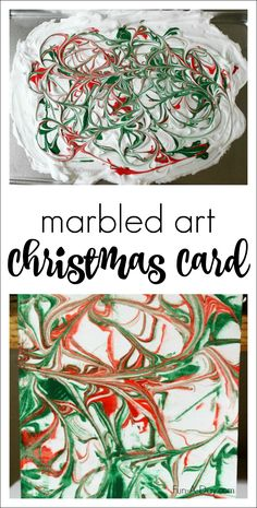 Marbled Art Homemade Christmas Card - a fun art experience that yields a beautiful Christmas card kids can give