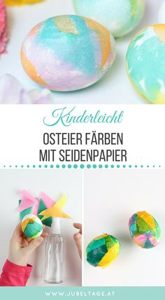 Ostereier färben Color Easter eggs with tissue paper: beautiful craft idea and DIY with children Kinder Valentines, Valentine Crafts For Kids, Mothers Day Crafts For Kids, Valentines Diy, Tissue Paper Decorations, Diy Easter Decorations, Valentines Day Decorations, Jubilee Day, Diy Osterschmuck