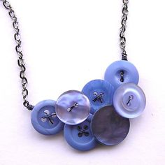 Hyacinth Periwinkle Blue Vintage Button Fashion Statement Necklace    From buttonsoupjewelry  Hyacinth Periwinkle Blue Vintage Button Fashion Statement Necklace