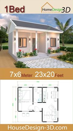 House Plans 7x6 with One Bedroom Gable Roof The House has:  -Car Parking and garden -Living room, -Dining room -Kitchen -1 Bedrooms, 1 bathroom -washing room