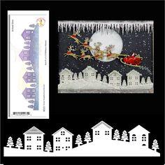 Winter Neighborhood Border metal cutting die Cheery Lynn dies houses,Christmas #CheeryLynn