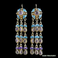 Chinese Gilt Silver Enamel and Amethyst Cascading Earrings from raretreasures on Ruby Lane