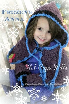 Little girls love Disney and they love dress-up. Crochet this sweet FROZEN Princess Anna Hat, Cape & Mitts. Pattern for mitts in post with links for cape and hat. Crochet Kids Hats, Crochet Gifts, Crochet Baby, Knit Crochet, Cute Frozen, Anna Frozen, Frozen Princess, Princess Anna, Grateful Prayer