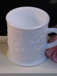 Vintage Imperial Glass White Milk Glass Rose Mug by havetohaveit