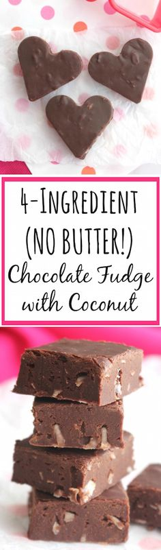 Just 5 minutes to prep this 4-ingredient fudge! So decadent, but with no butter or extra sugar! Deeply chocolaty with just a hint of coconut flavor! ~ www.TwoHealthyKitchens.com