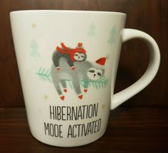 Sloth Holiday Christmas Coffee Mug Cup Hibernation Mode Activated Indigo NEW   | eBay Christmas Coffee, Christmas Books, Christmas Themes, Vintage Christmas, Christmas Holidays, Christmas Gifts, Christmas Decorations, Mug Cup, Sloth