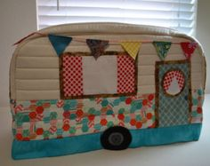 Vintage Caravan Sewing Machine Cover in Turquoise, Aqua and Polka Dots ...