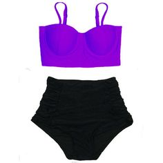 Violet Midkini Top and Black Ruched Rouched Highwaisted High Waisted... ($40) ❤ liked on Polyvore featuring swimwear, bikinis, bathing suit, bikini, swimsuit, scrunch bikini, high waisted bathing suits, swim suits, high rise bathing suit two piece and high-waisted bikinis