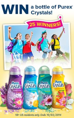 *THIS SWEEPSTAKES HAS ENDED* Enter to win a bottle of Purex Crystals laundry enhancer – 25 winners!
