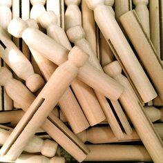 10 Wood Clothes Pins - Clothes Pin Dolls - Kids Wood Craft Supplies
