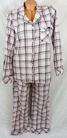 Womens Victorias Secret After Hours Medium Pajama Set Pink Black Plaid Cotton #VictoriasSecret #PajamaSets #Everyday
