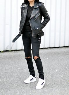 ripped jeans + adidas + leather jacket