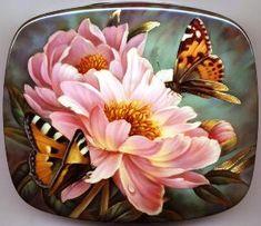 "Russian LACQUER BOX ART - ""Butterflies"" by Fedoskino painter, Gavrilov Oleg."