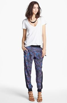 James Perse Perfect 10 Tee & Print Tapered Trouvé Pants, Carole Enamel Armor Statement Necklace