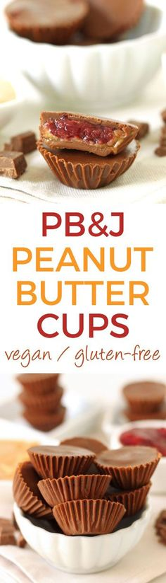 Peanut Butter and Jelly Peanut Butter Cups made in a healthier way! {naturally gluten-free with dairy-free and vegan options}