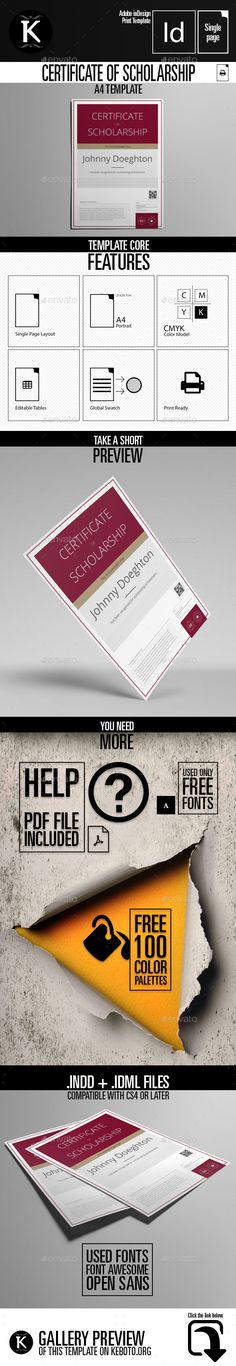#Certificate of Scholarship A4 Template - Certificates Stationery Download here: https://graphicriver.net/item/certificate-of-scholarship-a4-template/19683278?ref=alena994