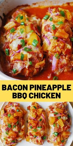 Bacon Pineapple BBQ Chicken with Red Onions and Mozzarella Cheese – a delicious way to cook chicken breasts and keep them moist, flavorful and far [. Pineapple Chicken Recipes, Chicken Parmesan Recipes, Easy Chicken Recipes, Ways To Cook Chicken, Bbq Chicken, Chicken Bacon, Cooking Recipes, Healthy Recipes, Cooking Food