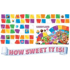 """Candy Land Mini Bulletin Board Set Includes King Kandy with Candy Castle ,""""How Sweet It Is"""" banner, 56 game squares, 4 candy pieces and a Candy Land™ logo. Candy Theme Classroom, Candy Land Theme, Classroom Ideas, Candy Land Decorations, Candy Land Party, Future Classroom, Candy Bulletin Boards, Birthday Bulletin Boards, Candy Castle"""