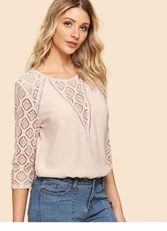 Lace Panel Button Keyhole Back Top -SheIn(Sheinside) Frock Fashion, Fashion Clothes, Fashion Dresses, Blouse Styles, Blouse Designs, Mom Outfits, Casual Outfits, Night Gown Dress, Embroidery Fashion
